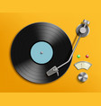 vintage record player with retro vinyl disc vector image