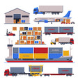 warehouse logistic and delivery set storage vector image vector image