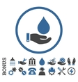 Water Service Flat Rounded Icon With Bonus vector image vector image