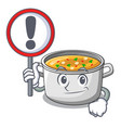 with sign vegetable soup with pasta in pot cartoon vector image