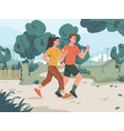 young family couple running in city park outdoors vector image