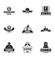 zombie way logo set simple style vector image vector image