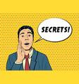 pop art man telling secret vector image