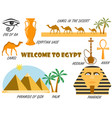 welcome to egypt symbols of egypt set of icons vector image
