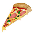a slice pizza on white background vector image
