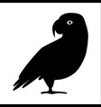 african grey parrot silhouette icon in flat style vector image
