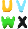 alphabet letters uvwx colors vector image
