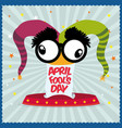 april fools day hat joker star striped background vector image vector image