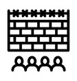 banned people behind fence icon outline vector image vector image