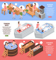 bath houses isometric banners vector image vector image