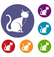 black cat icons set vector image vector image