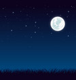 blue dark night sky with full moon and lot of vector image