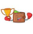 boxing winner wallet mascot cartoon style vector image vector image