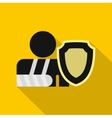 Broken hand and safety shield icon flat style vector image vector image