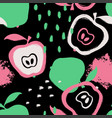 brush grunge apple seamless pattern vector image