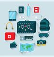 cartoon color travel equipment icon set vector image vector image