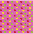 cartoon red yellow and green apples print on pink vector image
