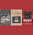 cinema movie film reel projector video tapes vector image