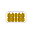 classic wooden fence icon in paper sticker vector image vector image