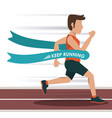 colorful background with male athlete running in vector image