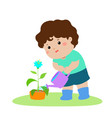 cute cartoon boy watering plant vector image vector image