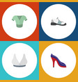 flat icon garment set of sneakers brasserie vector image vector image