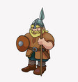 funny barbarian viking blond with spear