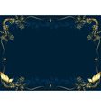 gold frame on a dark bue background from vegetable vector image