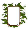 golden frame with bright green leaves for text vector image