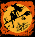Halloween with witch silhouette vector image