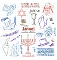 Hand drawn doodle Israel symbols set vector image vector image