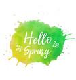 hello spring text plate hello spring text vector image