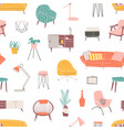 home decor and accessories hand drawn seamless vector image
