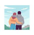 hugging couple sky landscape background back view vector image vector image