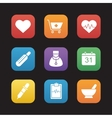 Medical flat design icons set vector image vector image
