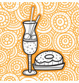 milkshake and doughnut doodle style fast food vector image vector image