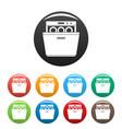 modern dishwasher icons set color vector image vector image