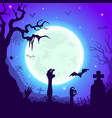 night cemetery with zombie hands halloween night vector image