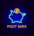 piggy bank neon label vector image vector image