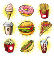 pop art set trendy fast food patches vector image