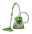 realistic green vacuum cleaner 3d icon vector image vector image