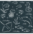 Sealife chalkboard seamless pattern vector image vector image