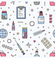 seamless pattern with pills in jars and blisters vector image