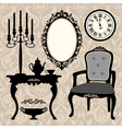 set of antique furniture and objects vector image vector image