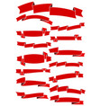 set of fifteen red cartoon ribbons and banners vector image vector image
