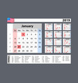 simple calendar 2019 - one year at a glance vector image vector image