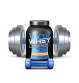 Sport Nutrition Containers And Sumbbells vector image