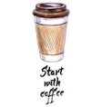 start with coffee coffee in blank craft take away vector image vector image