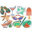 summer holiday symbols set flip flops bikini vector image