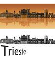 Trieste skyline in orange background vector image vector image